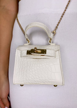 Izzy Mini Chain Bag - White Crocodile