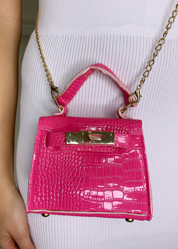 Izzy Mini Chain Bag - Pink Crocodile