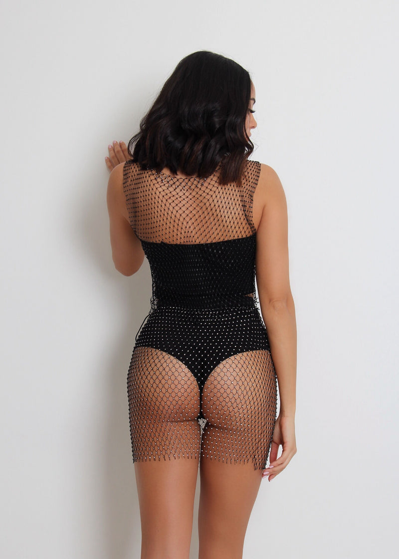 Nola Fishnet Crystal Two Piece Cover Up - Black