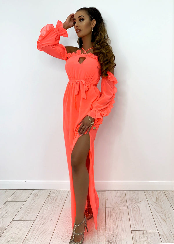 Seaside Sun Maxi Dress - Neon Pink