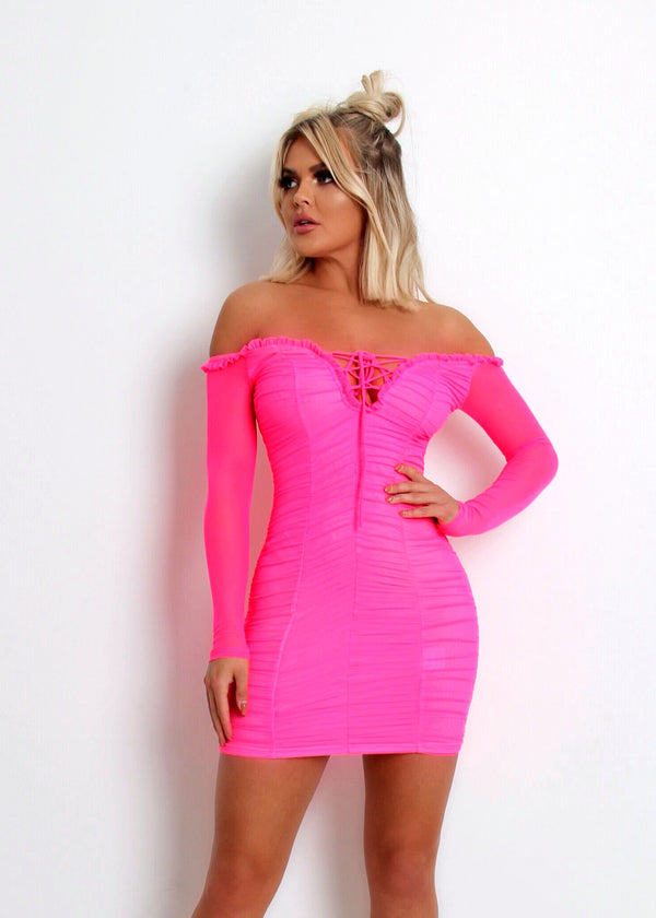 Paparazzi Ruched Dress - Neon Pink