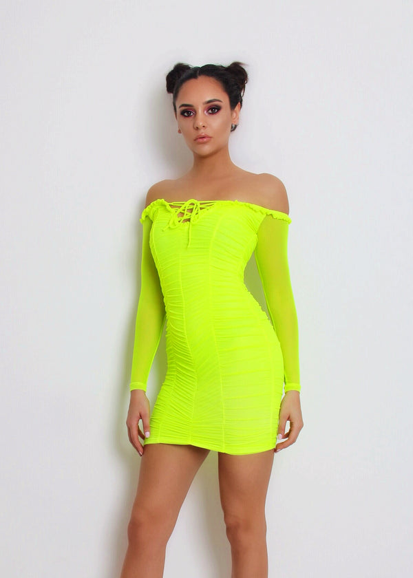 Paparazzi Ruched Dress - Neon Green