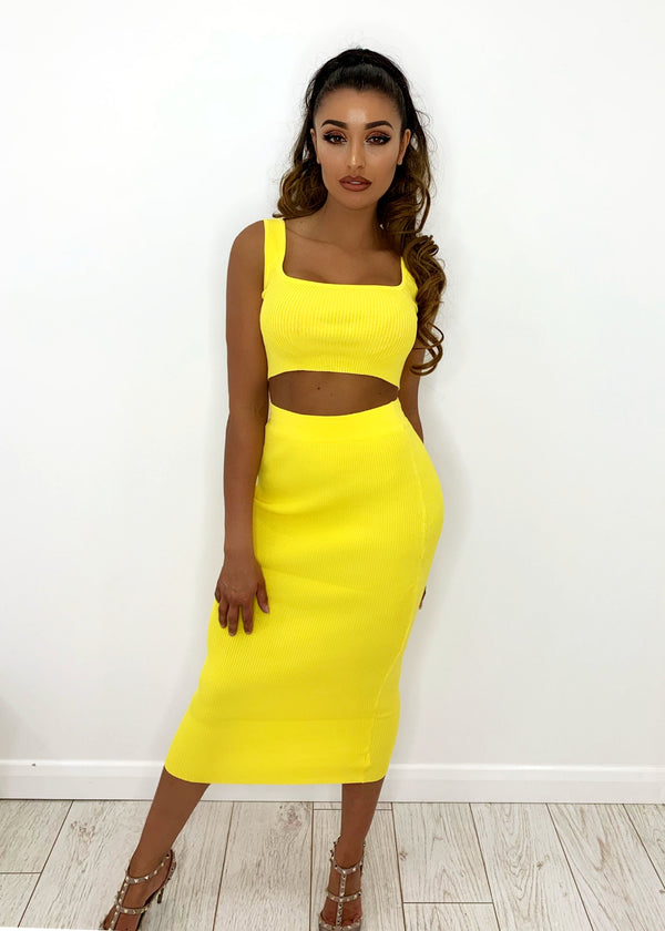 London Chic Premium Ribbed Two Piece - Yellow