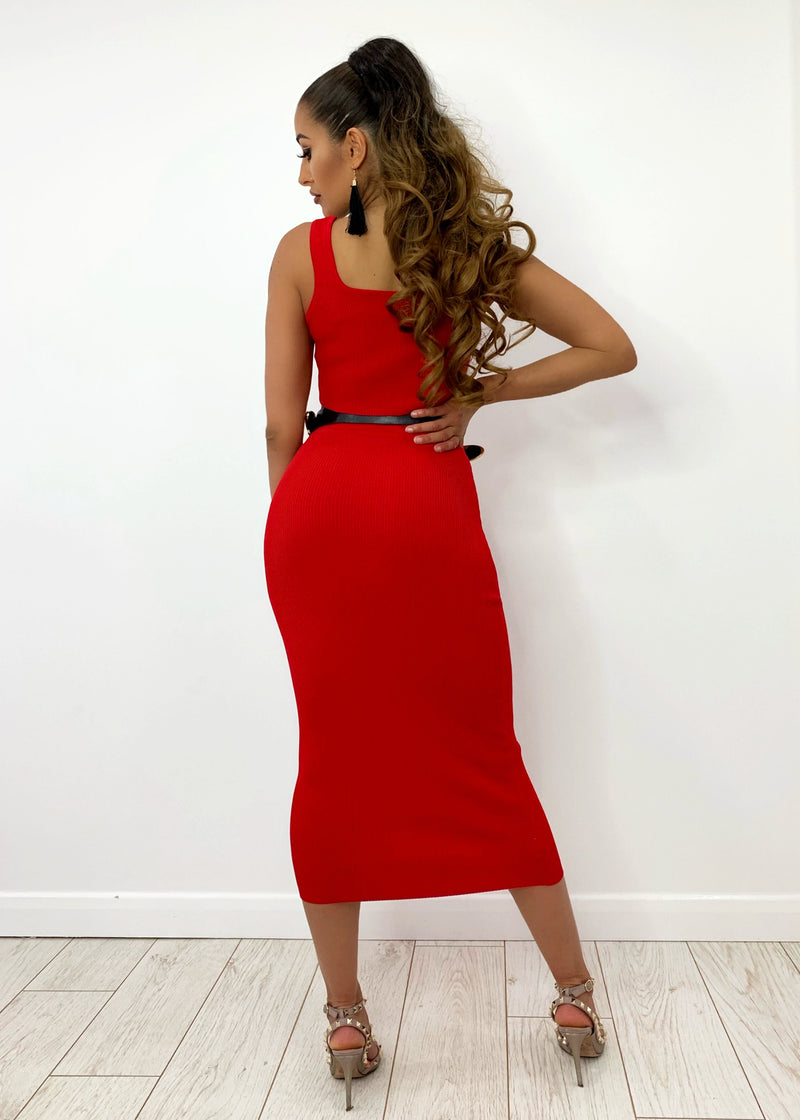 London Chic Premium Ribbed Two Piece - Red