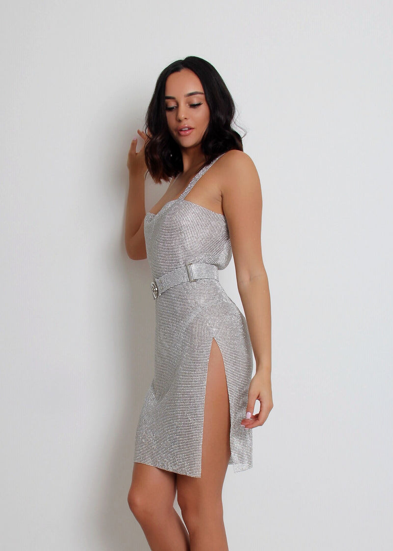 Diamond Glitz Metal Crystal Dress - Silver