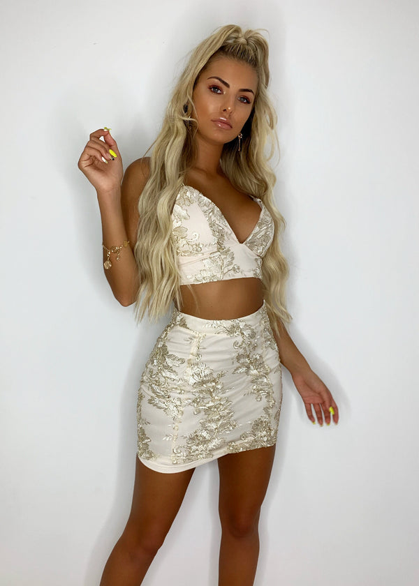 Field of Gold Embroidered Two Piece