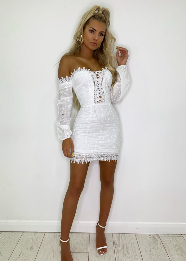 Amalfi Bardot Dress - White