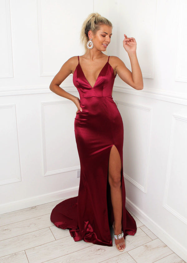 'Touch of Glamour' Satin Gown with Side Slit - Wine