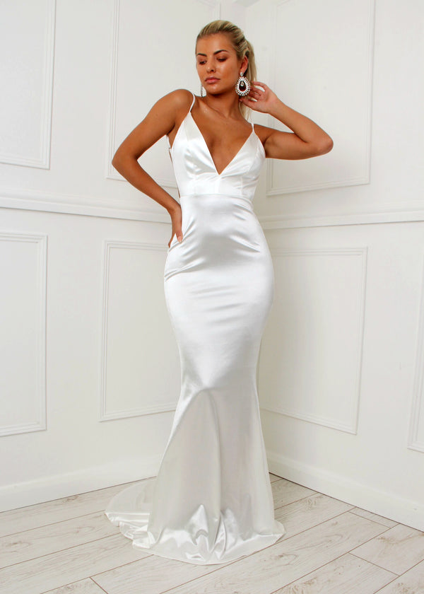 'Love Affair' Satin Gown with Ruched Back - White