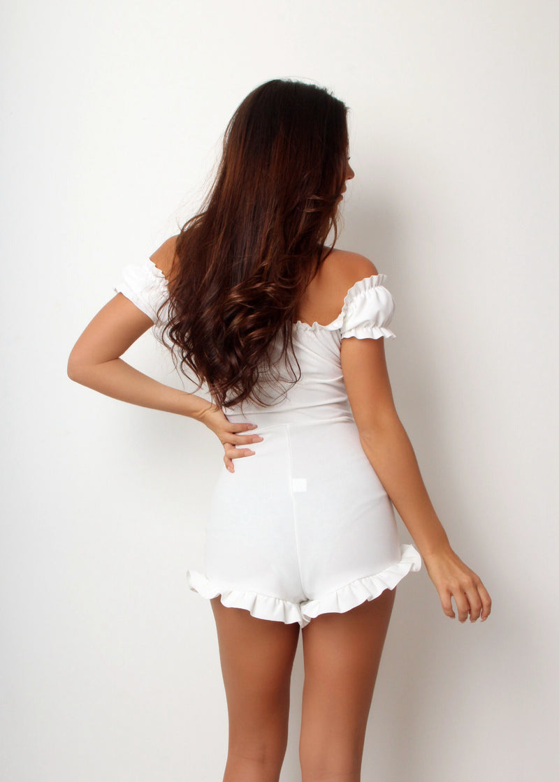 Dress To Frill Playsuit - White