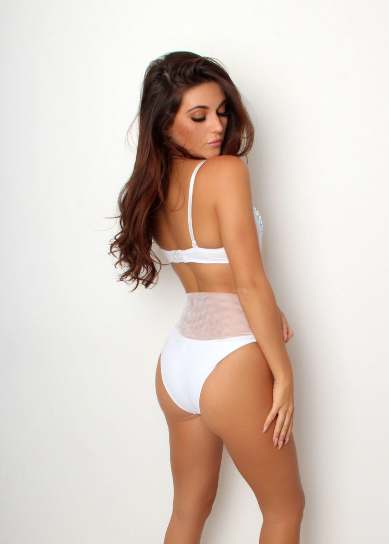 'Day Party' Embellished Two Piece Swimsuit - White