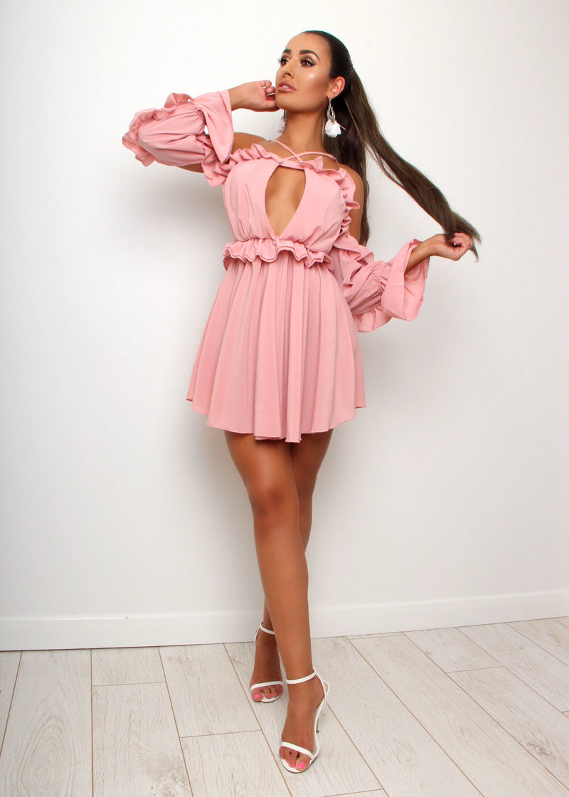 Little Cutie Key Hole Ruffle Dress - Blush