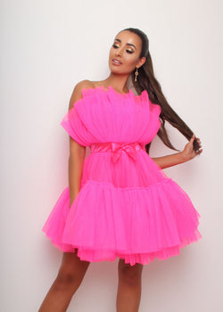Barbie Ruffle Dress - Neon Pink