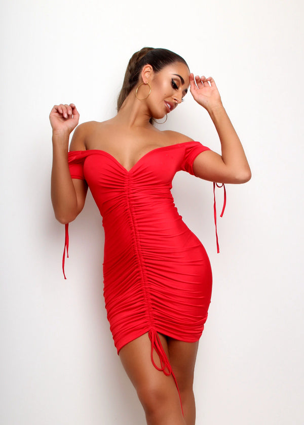 Ruched And Ready Dress - Red