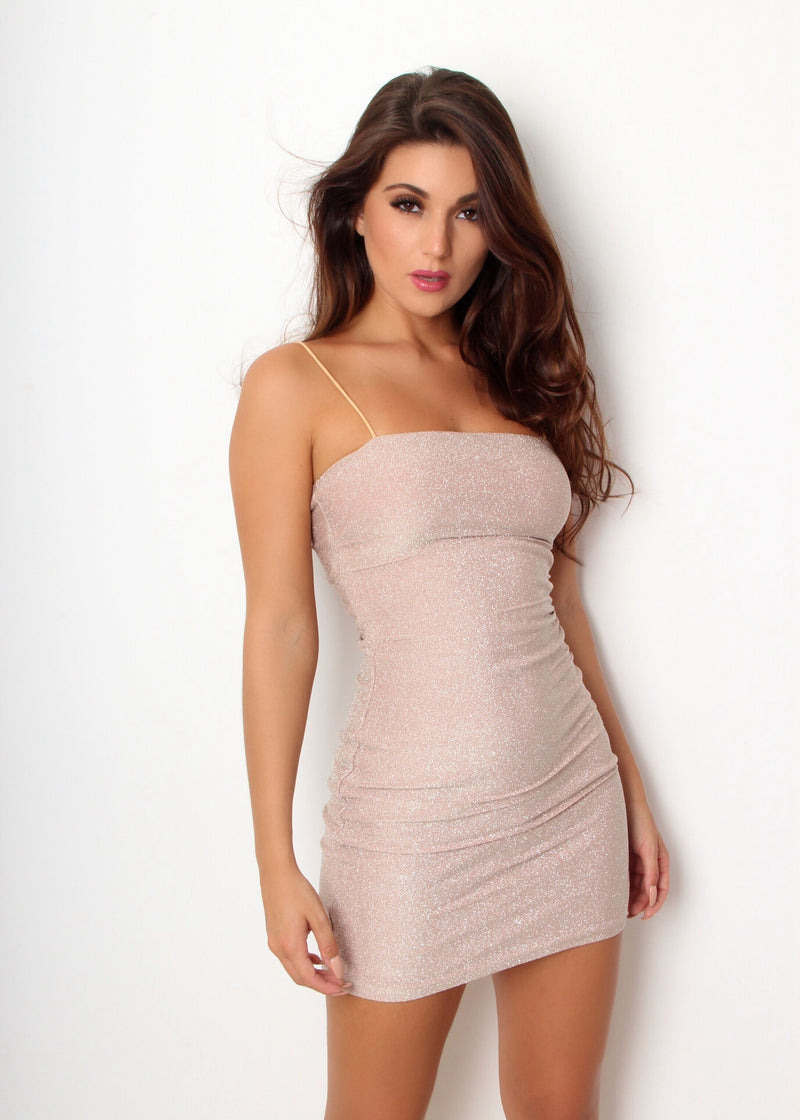 High On Shine Lurex Bodycon Dress - Nude
