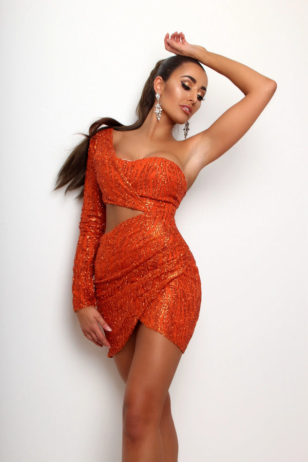 Party In LA Glitter Sequin Dress - Burnt Orange