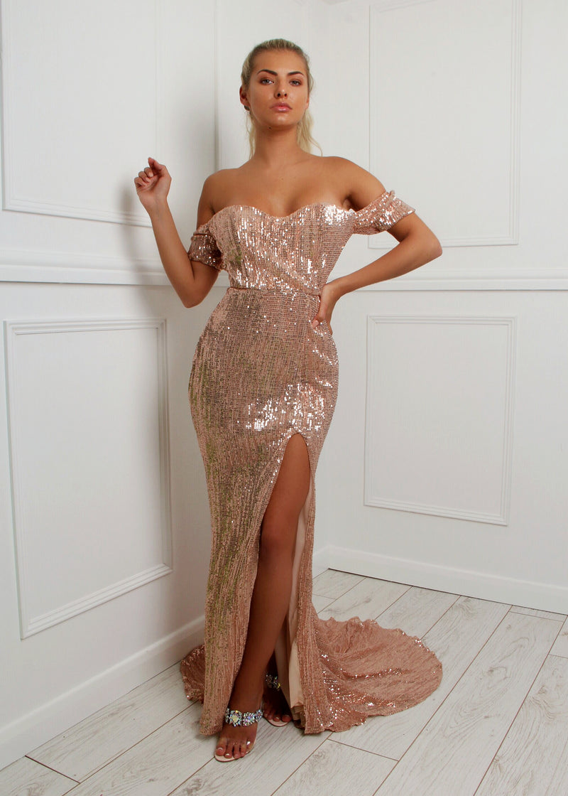 'Lady Million' Sequin Gown - Rose Gold