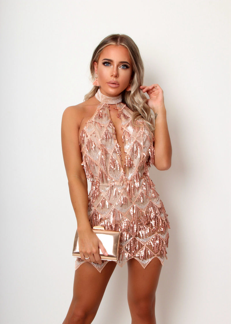 Show Girl Sequin Fringe Dress - Nude