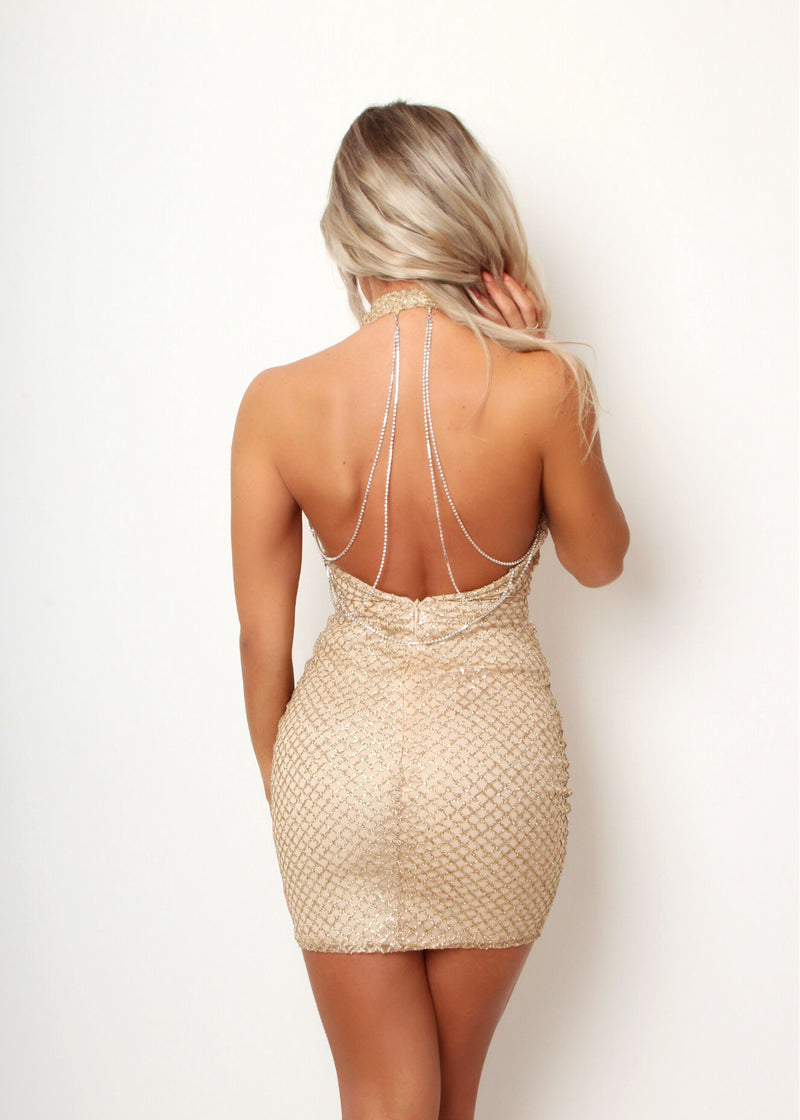 Audrey Glitter Dress With Draped Diamante Chain - Gold