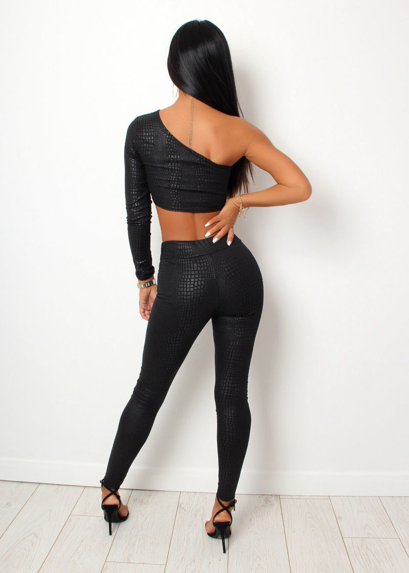 Fame And Fortune Snake Pattern Two Piece - Black
