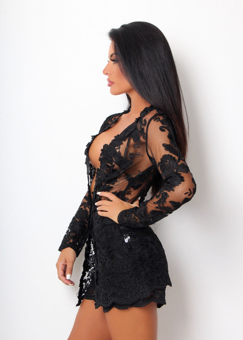'In Full Bloom' Floral Mesh Embroidered Two Piece - Black