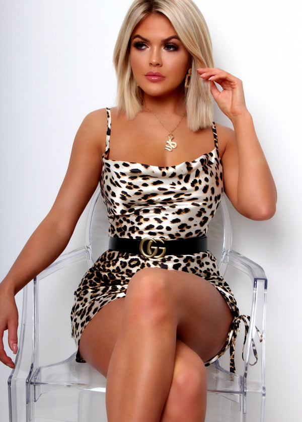 Pampered Mini Dress - Leopard Print