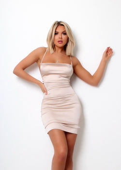 Beauty Queen Cowl Neck Mini Dress – Champagne