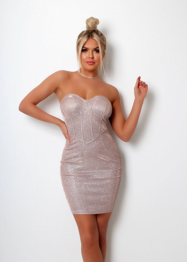 Cherish Me Glitter Lurex Bandeau Dress - Pink Champagne