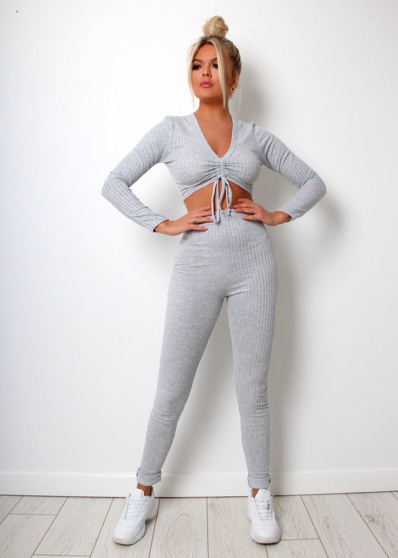 Sweet Talker Ribbed Lounge Set - Grey