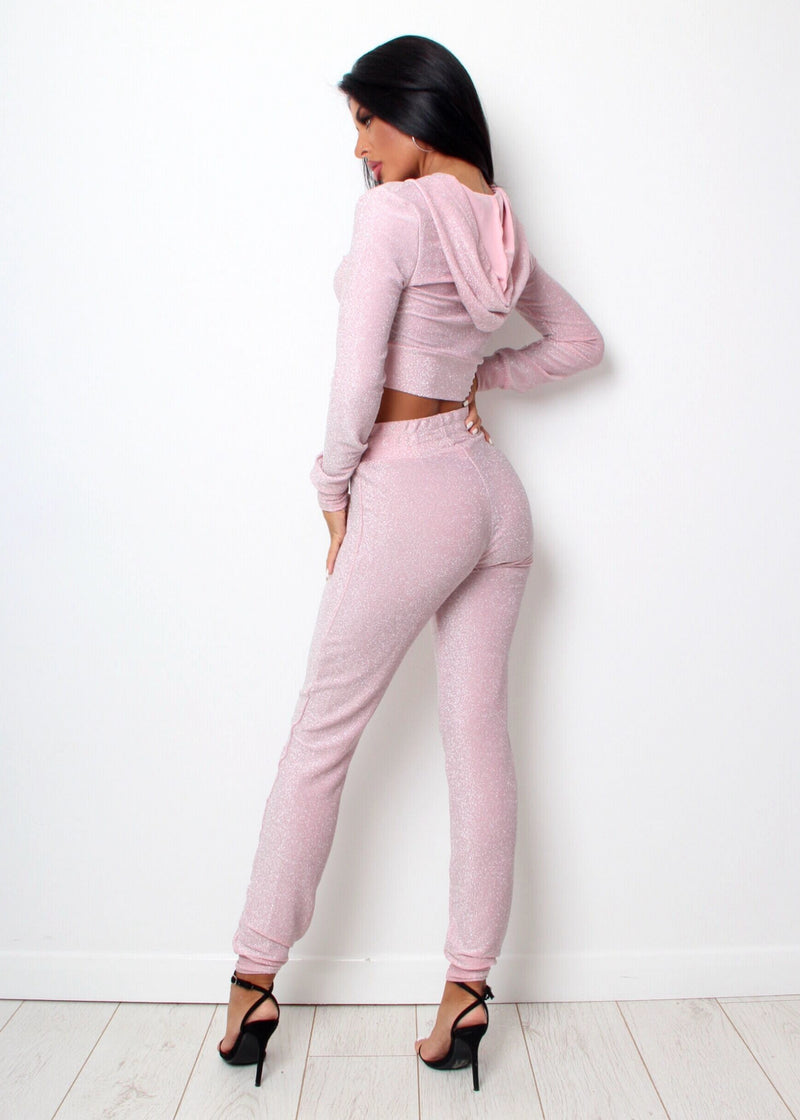 Social Babe Lurex Two Piece - Pink