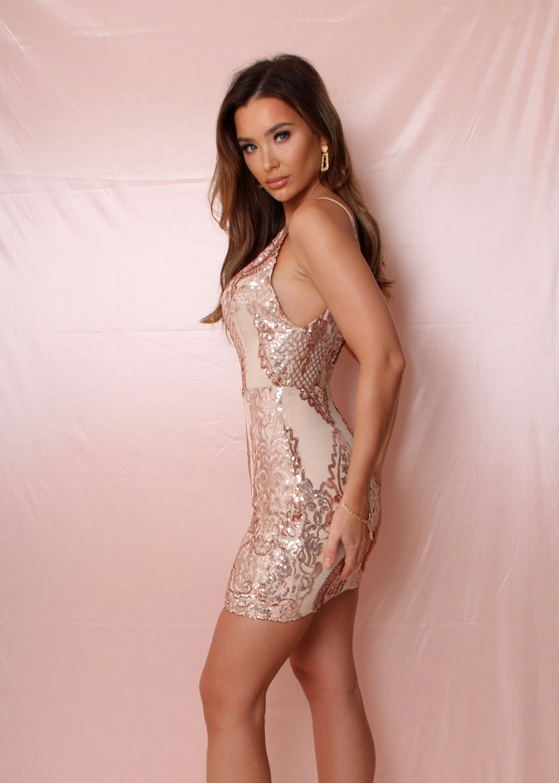 Cocktail Bling Sequin Mini Dress - Rose Gold