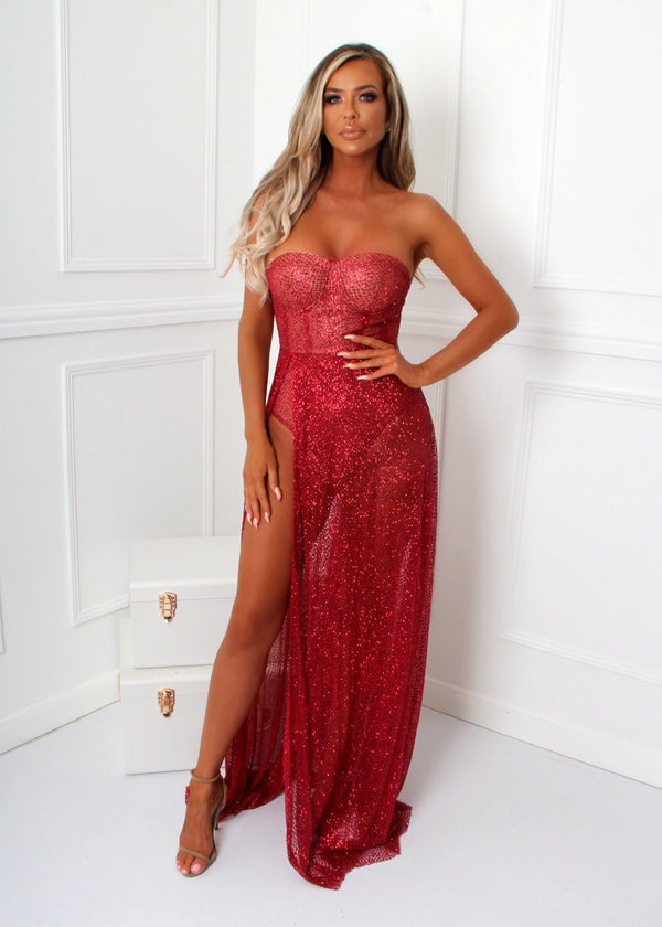 High Class Glitter Gown - Red