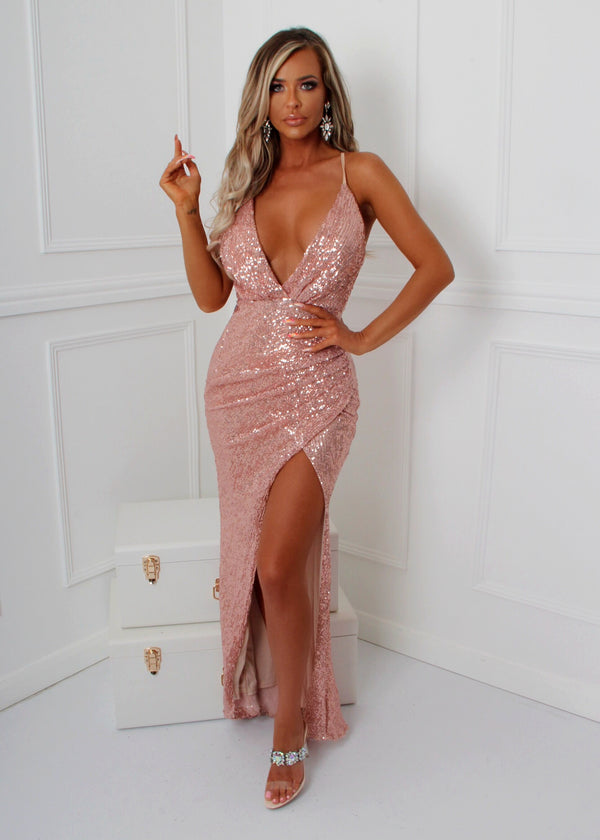Walking Goddess Sequin Gown - Rose Gold
