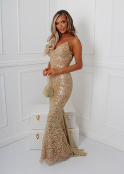 'Notting Hill' Glitter Gown - Gold