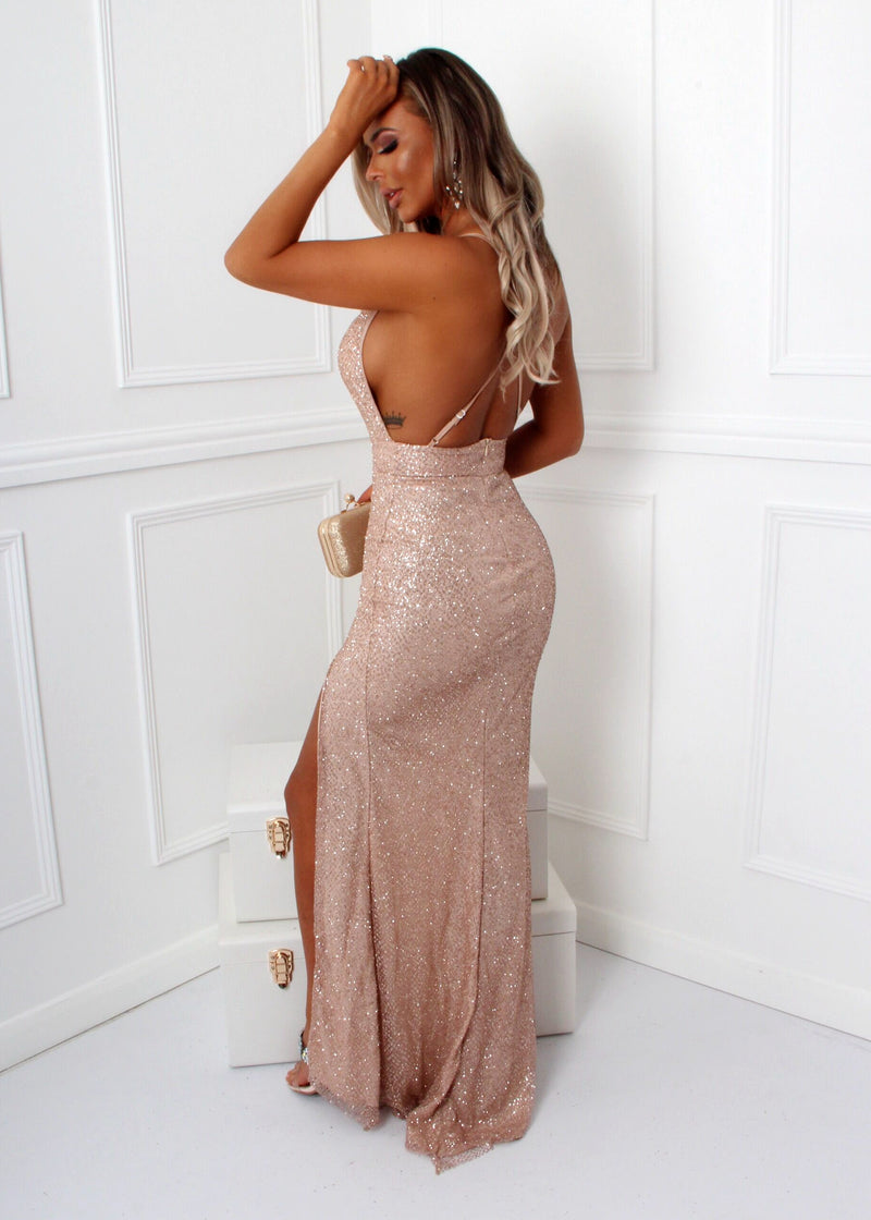 Emilia Glitter Strappy Back Gown - Rose Gold