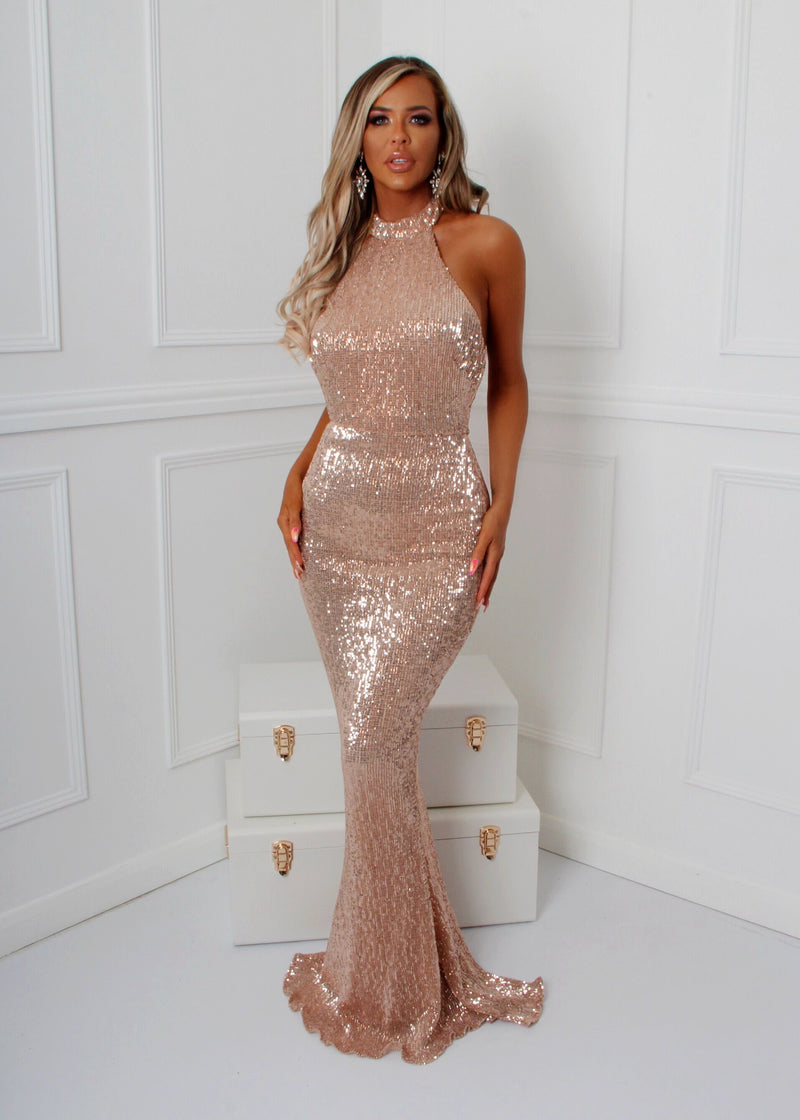 'Sequin Queen' Gown - Rose Gold
