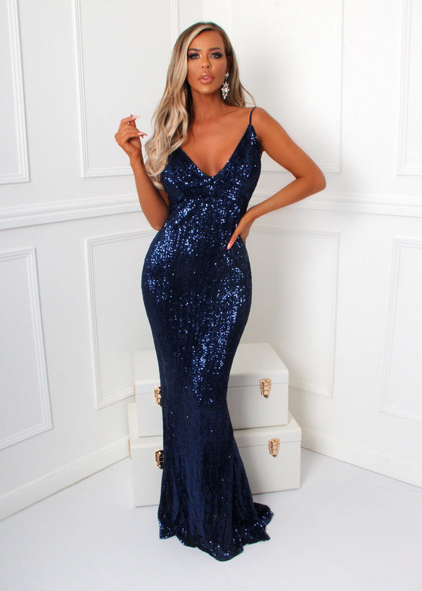 'Frozen Heart' Sequin Gown - Navy