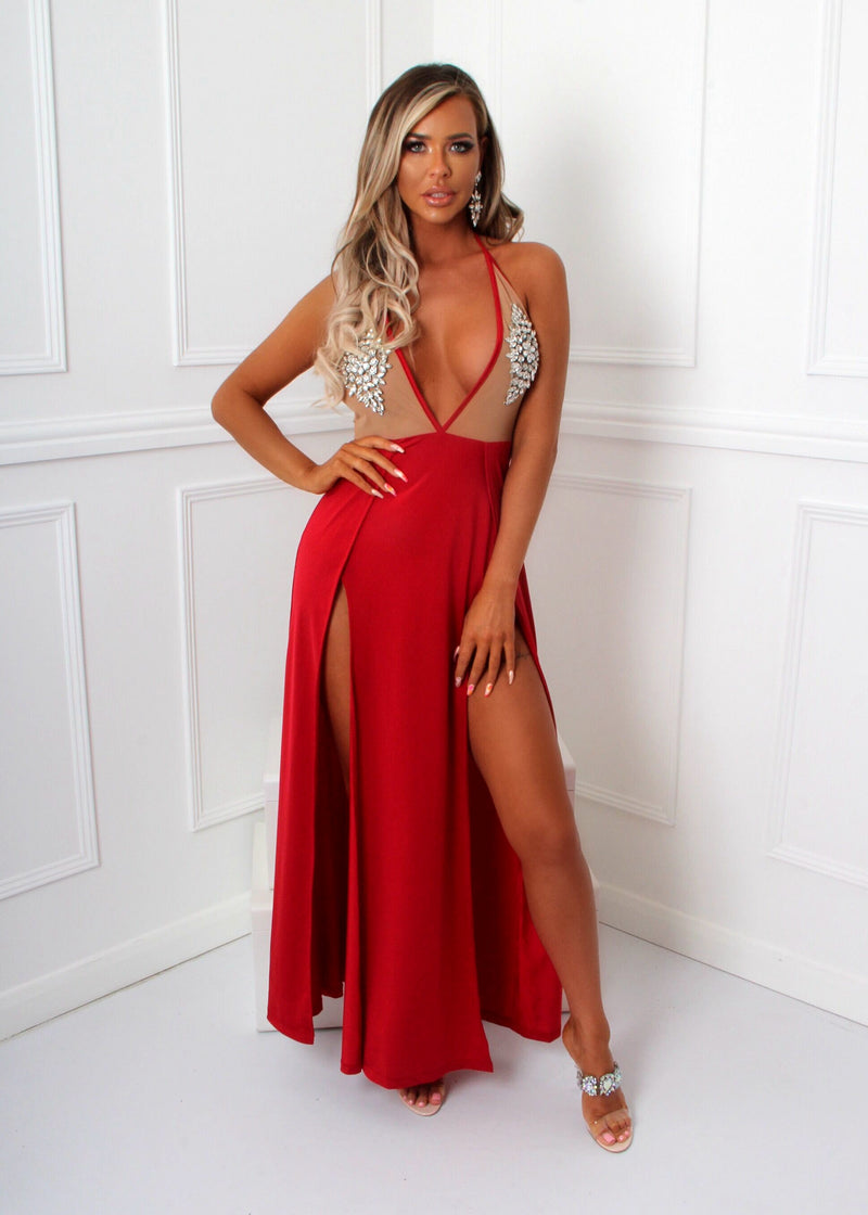 'Innocent Love' Bejewelled Maxi with Side Slits