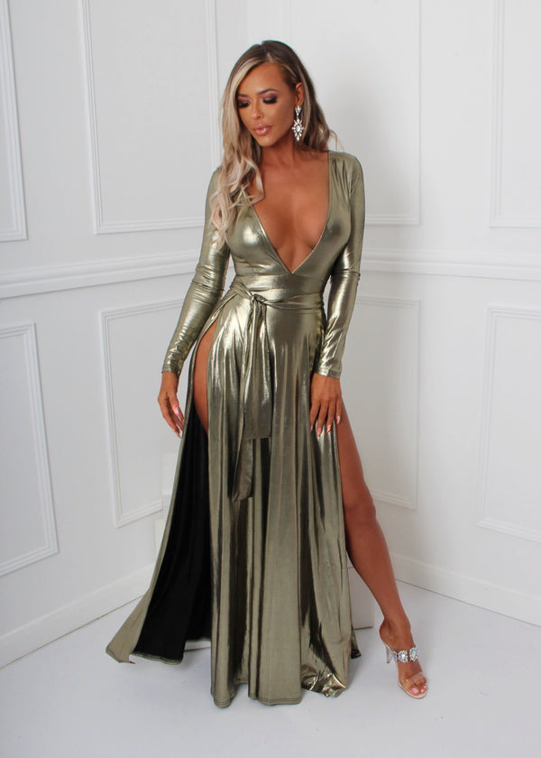Metallic Goddess Gown - Gold
