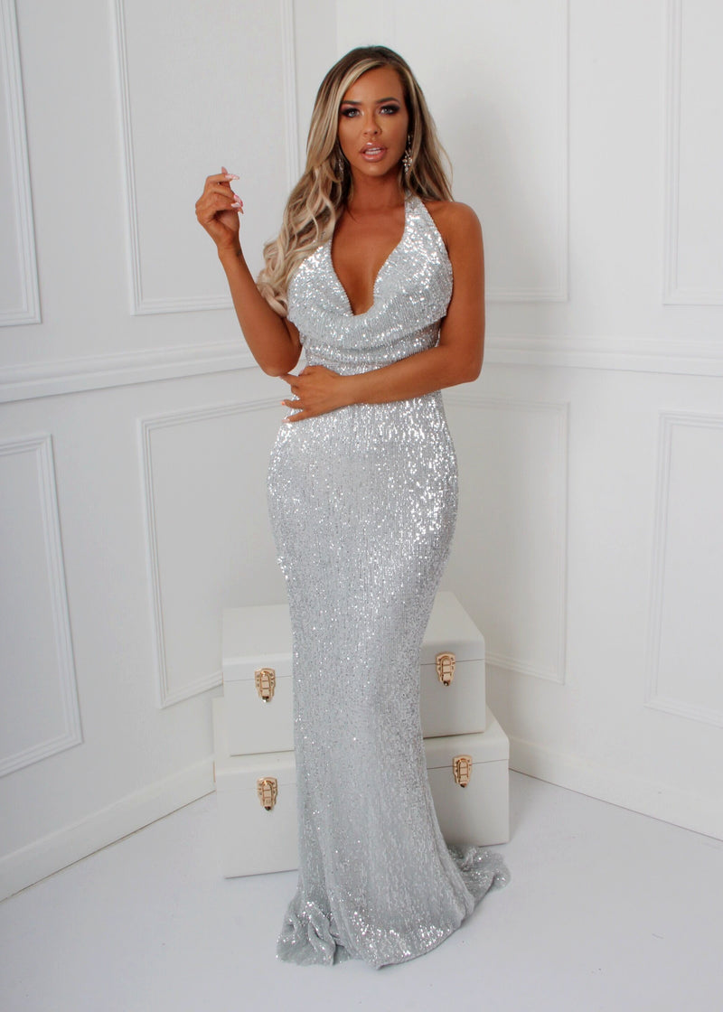 'See Me Shine' Cowl Neck Sequin Gown - Silver