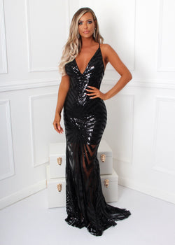 Kill The Lights Sequin Gown - Black