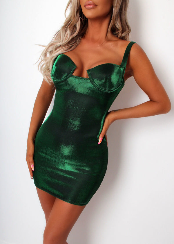 Shimmer Fizz Lurex Dress - Green