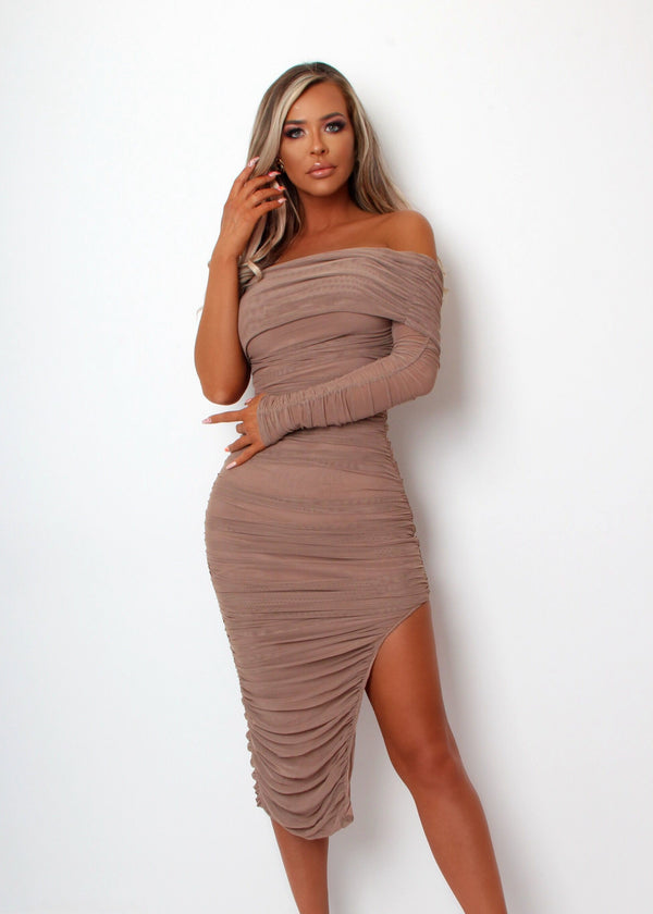 Simply Ruched One Sleeve Midi Dress - Mocha