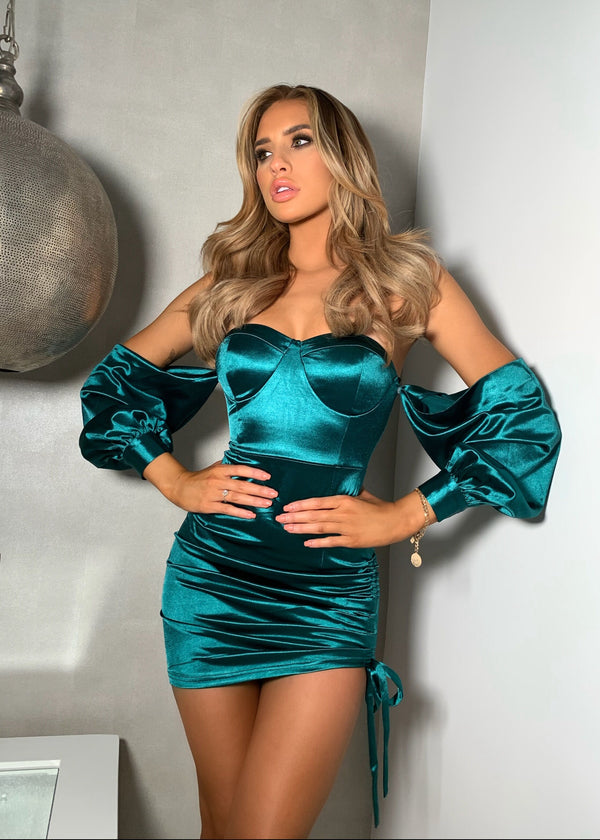 Touch Of Sass Multi-way Satin Dress - Emerald Green