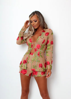Love Lust Floral Embroidered Two Piece