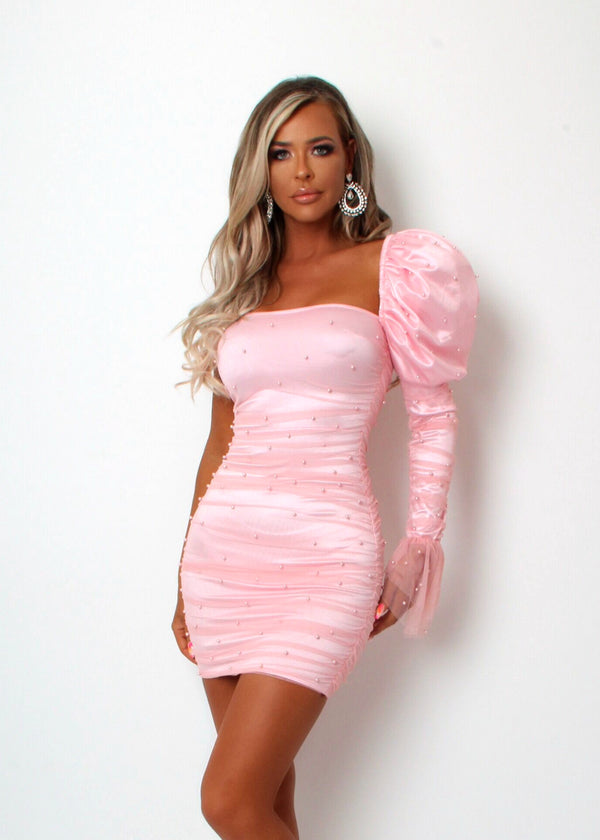 Sweetest Kiss Puff Sleeve Dress - Pink