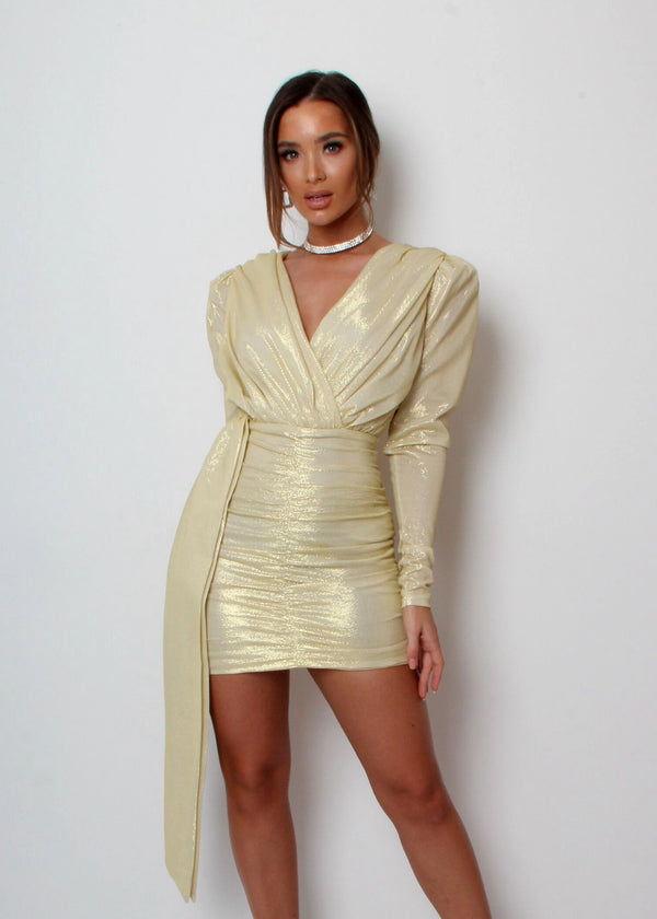 GIA Drape Dress - Gold