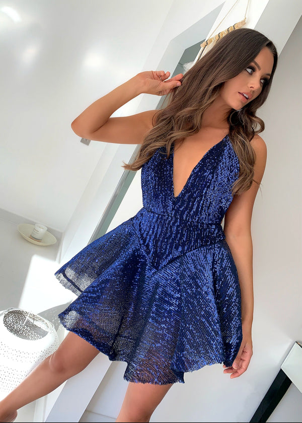 Millionairess Skater Sequin Dress - Navy
