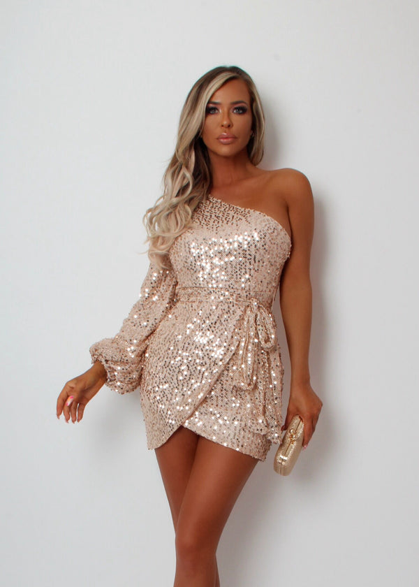 Money Maker One Shoulder Sequin Dress