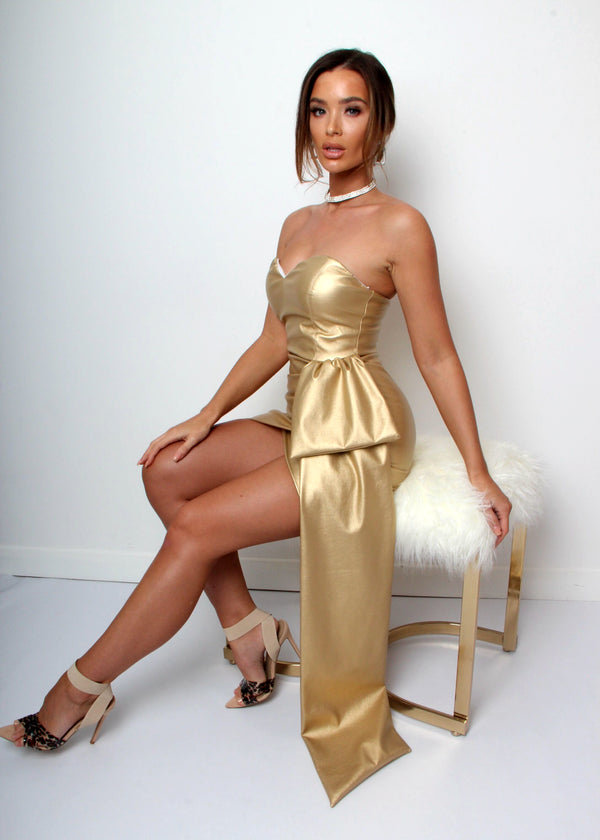 Night Vixen Leatherette Dress - Gold